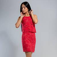 Яркое гипюровое платье коралового цвета 38-48 размеры