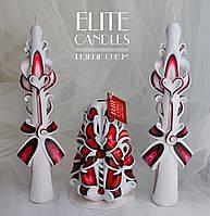 """Свадебные свечи """"Марсала"""" - набор из трех свечей для семейного очага"""