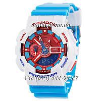 Неубиваемые спортивные наручные часы Casio G-Shock AAA GA-110 White-Light-Blue