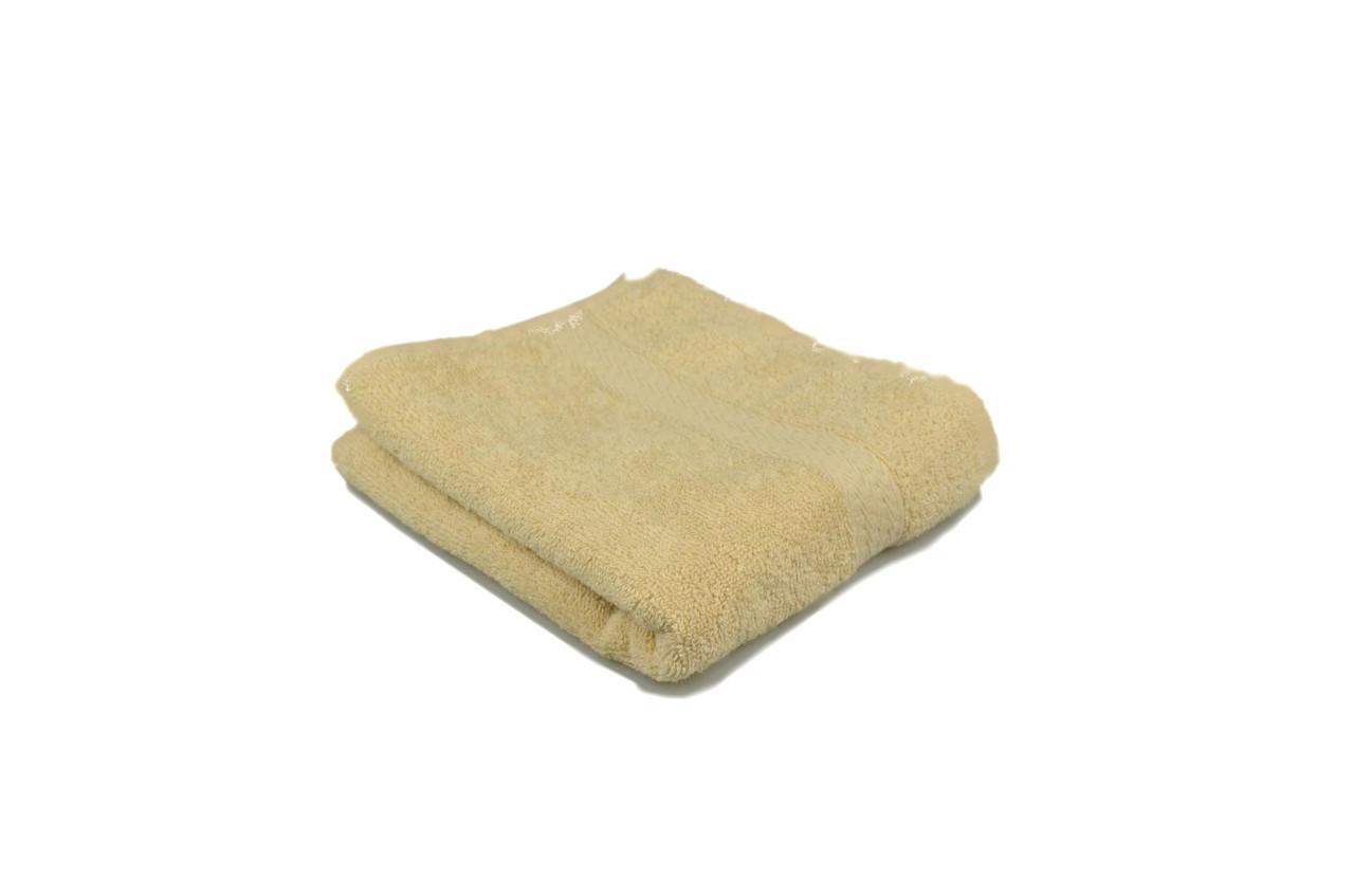 Полотенце махровое гладкокрашеное с бордюром  40х70см, 350г/м2 (кремовое)