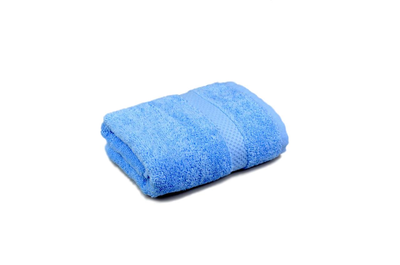 Полотенце махровое гладкокрашеное с бордюром 40х70см, 400г/м2 (синее)