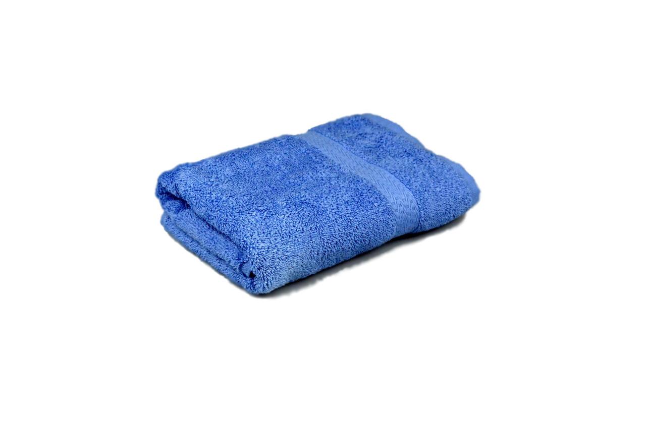 Полотенце махровое гладкокрашеное с бордюром 50х90см, 350г/м2 (голубое)