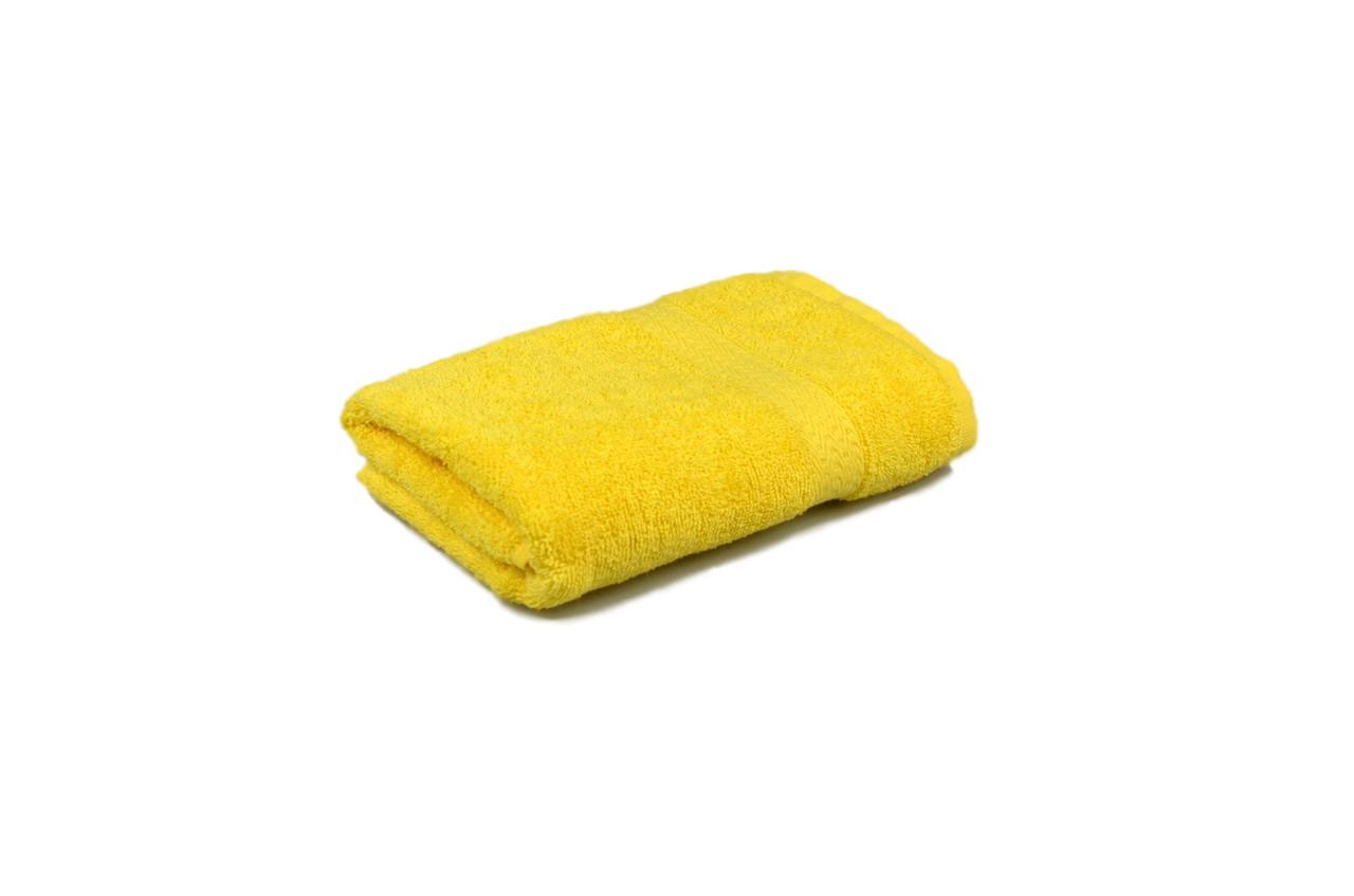 Полотенце махровое гладкокрашеное с бордюром  50х90см, 350г/м2 (желтое)