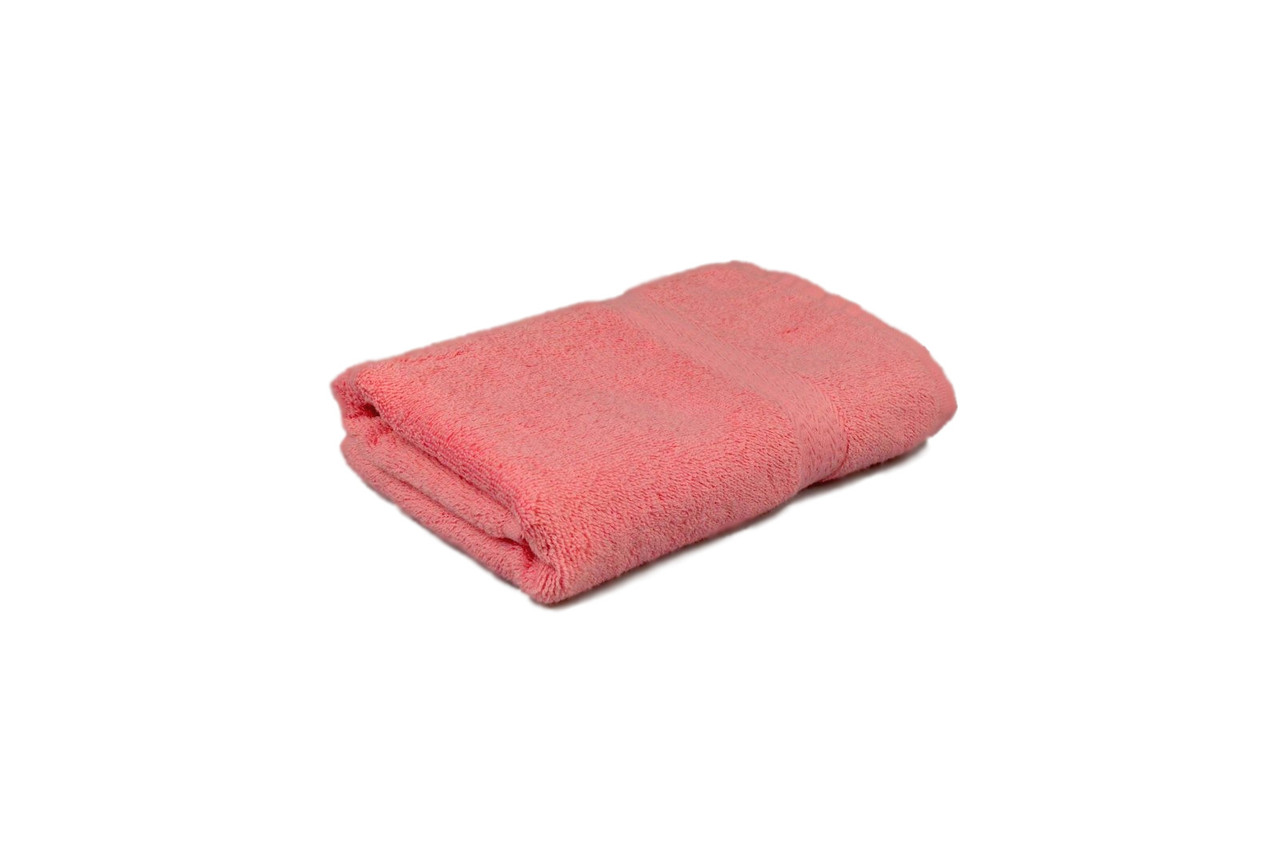 Полотенце махровое гладкокрашеное с бордюром  50х90см, 350г/м2 (розовое)