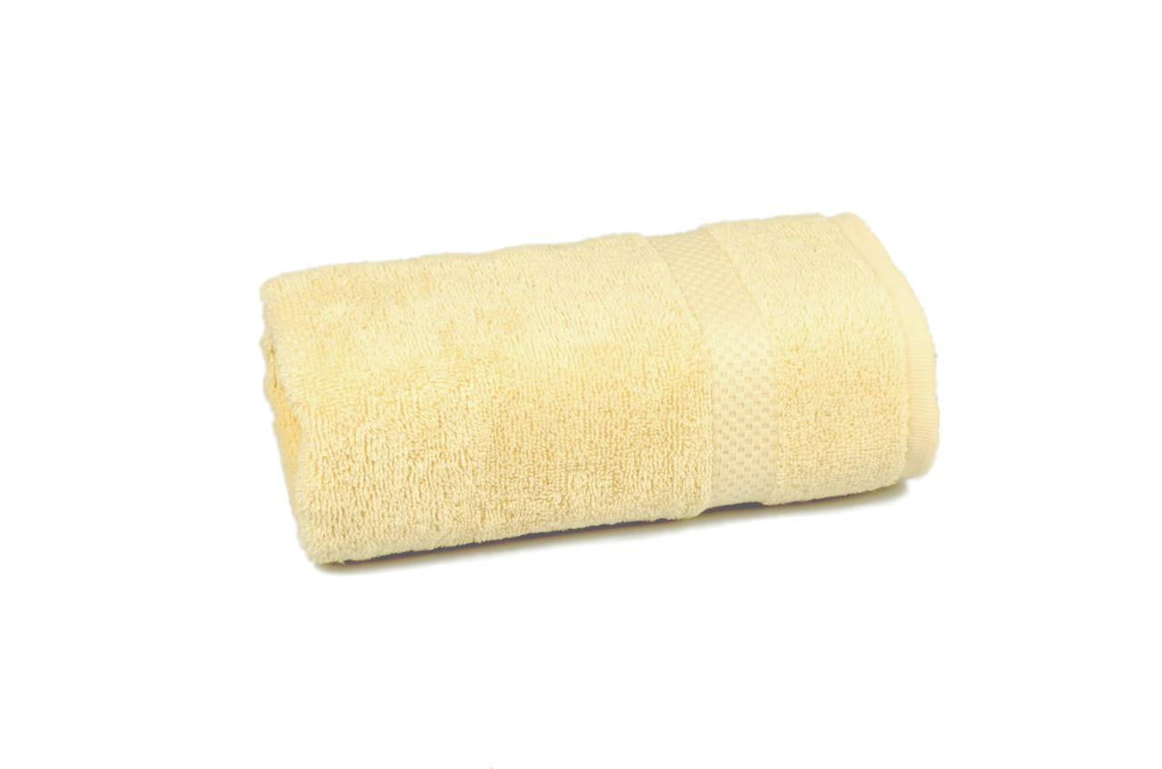 Полотенце махровое гладкокрашеное с бордюром  50х90см, 400г/м2 (жёлтое)