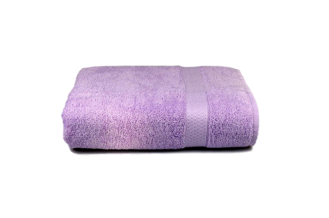 Полотенце махровое гладкокрашеное с бордюром 70х140см, 350г/м2 (сиреневое)