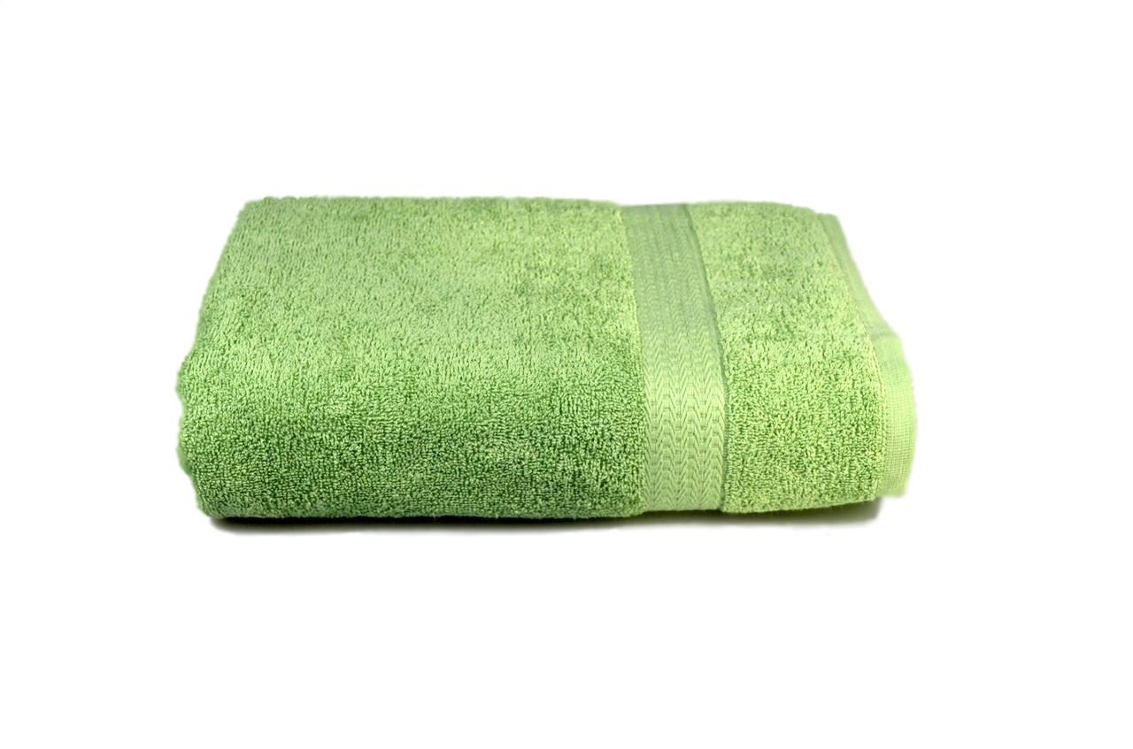 Полотенце махровое гладкокрашеное с бордюром  70х140см, 350г/м2 (оливковое)