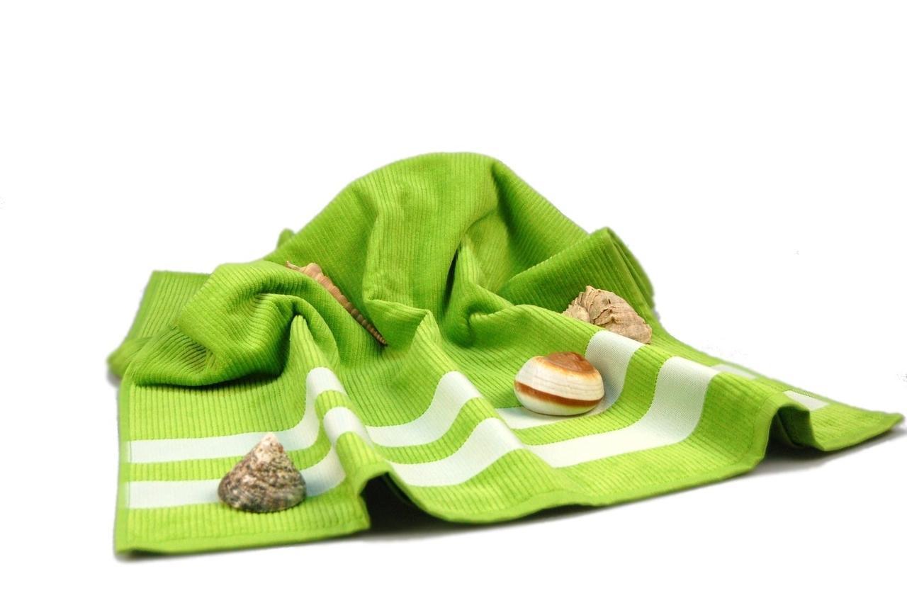 Полотенце пляжное велюровое  (зеленое), 70х150см