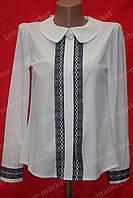 Блуза школьная на девочку с ажурной вставкой