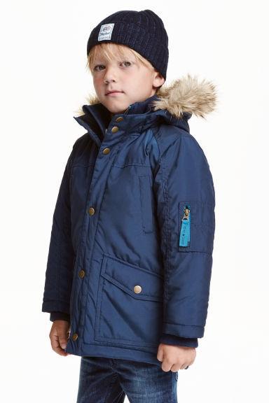 Детская парка с меховым капюшоном и опушкой  на мальчика от H&M Швеция Размер 92