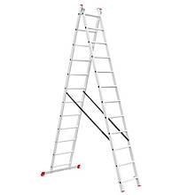 Лестница алюминиевая 2-х секционная универсальная раскладная INTERTOOL LT-0212