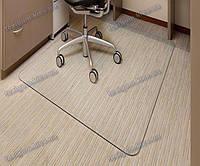 Ковер под кресло для защиты пола прозрачный 125х125см. Толщина 0,6мм