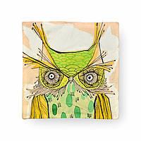 Подушка силиконовая  с декоративной наволочкой, 42х42см, Сова зелёная