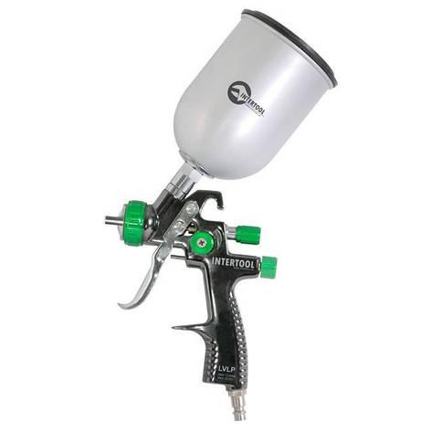 Краскопульт пневматический LVLP GREEN профессиональный, верхний металлический бачок INTERTOOL PT-0131, фото 2