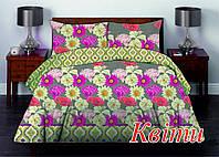 Полуторный комплект постельного белья Бязь премиум КВІТИ (нав 50х70 – 2 шт)