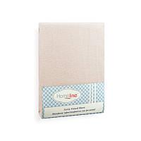 Простынь махровая на резинке (бежевая, 150г/м2) 140х200