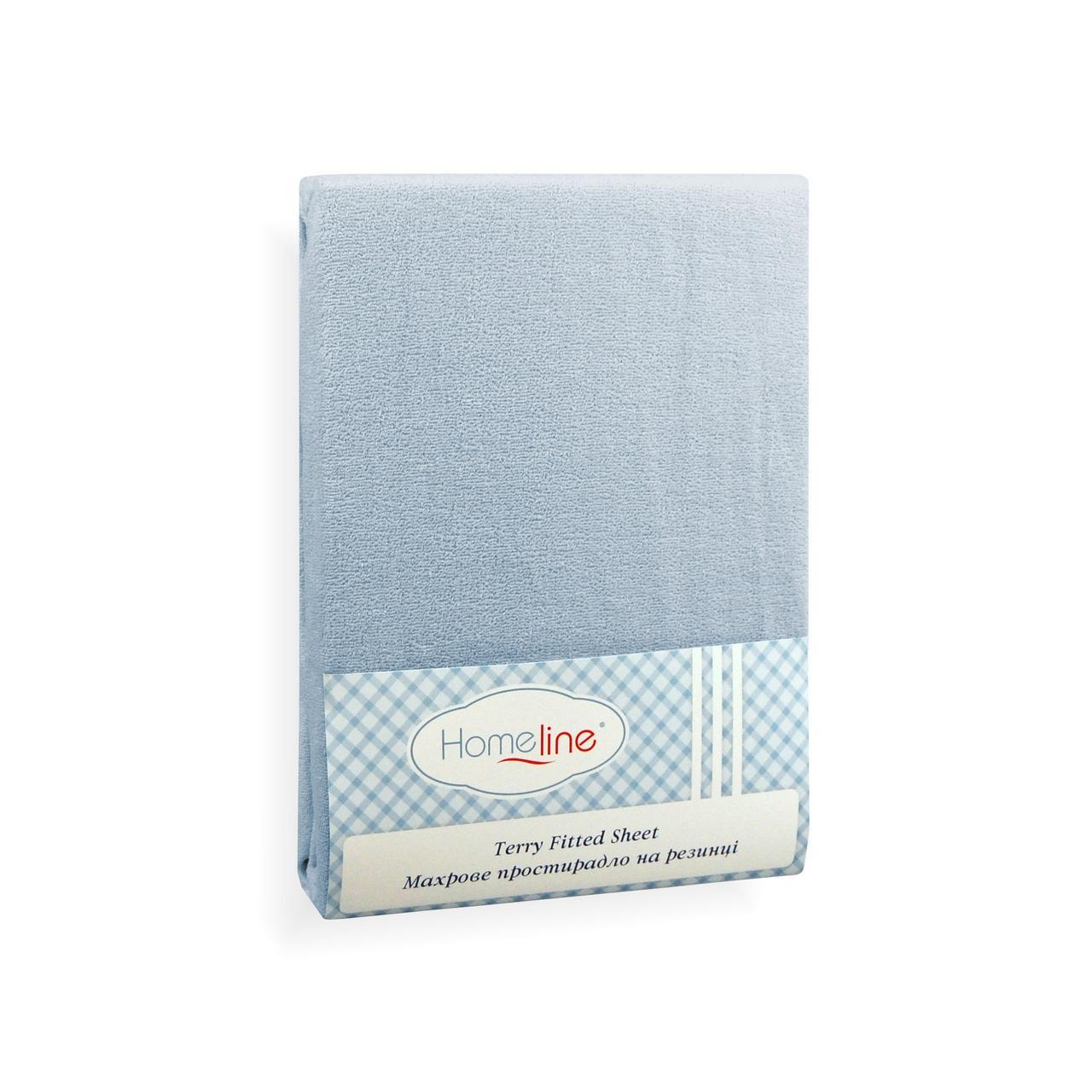 Простынь махровая на резинке (голубая, 150г/м2) 160х200