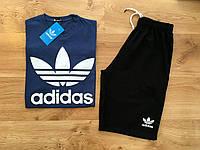 Летний мужской спортивный костюм шорты+футболка Adidas Original синий верх черный низ