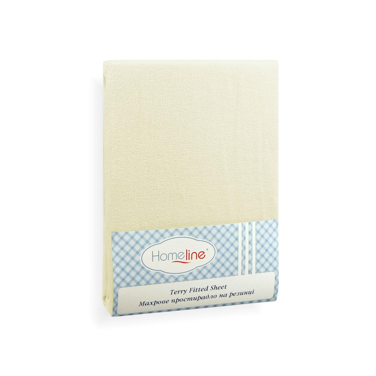Простынь махровая на резинке (кремовая, 150г/м2) 200х200