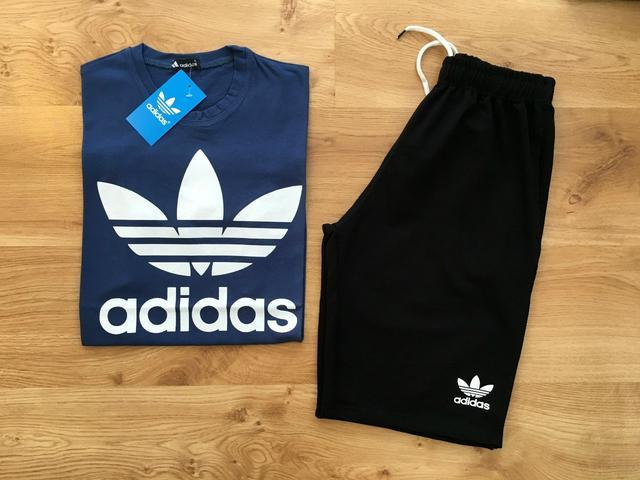 мужской спортивный костюм шорты+футболка Adidas Original синий верх черный низ