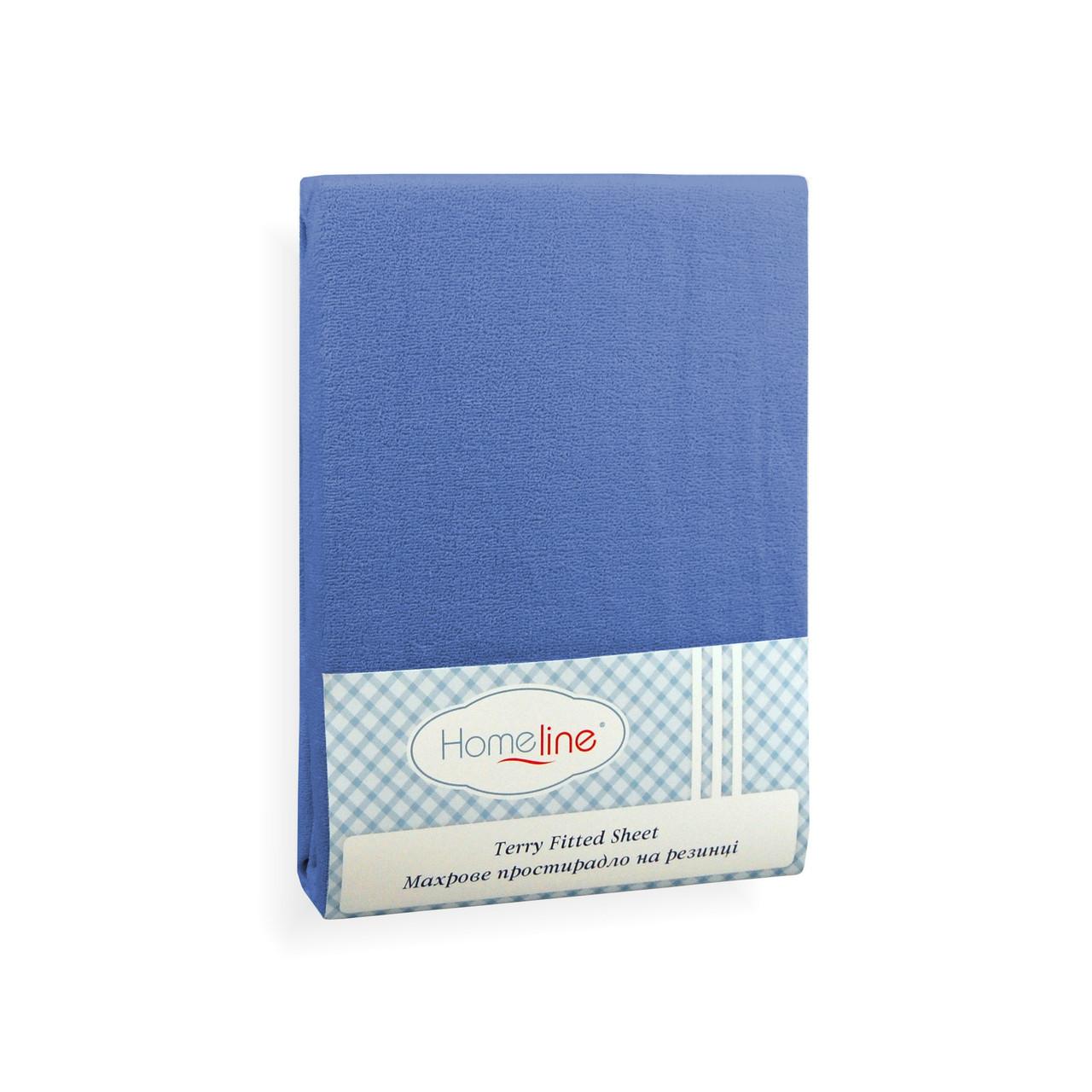 Простынь махровая на резинке (синяя, 150г/м2) 160х200