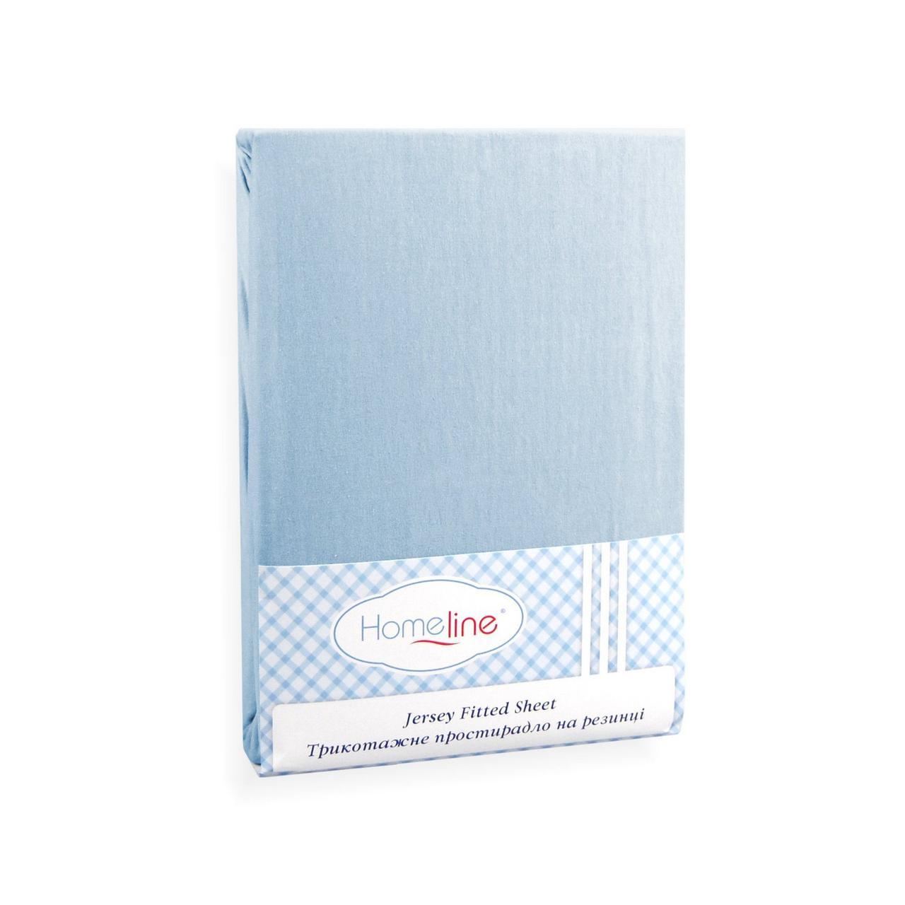 Простынь трикотажная на резинке (голубая, 150г/м2) 180х200