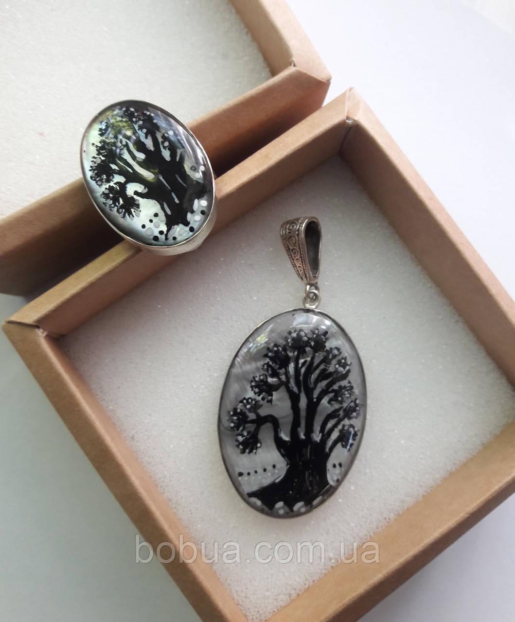 Комплект: кольцо и  кулон в серебре