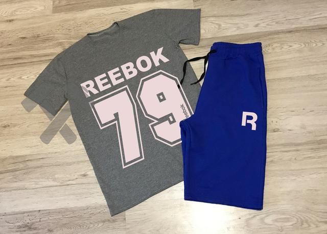 e0c76b41 Летний мужской спортивный костюм Reebok серый верх синий низ купить ...