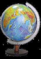 Глобус 32 см Деревянный с подсветкой