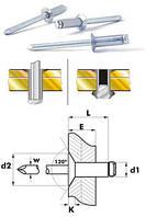 Заклёпка сталь / сталь потайной бортик 120° 4x12