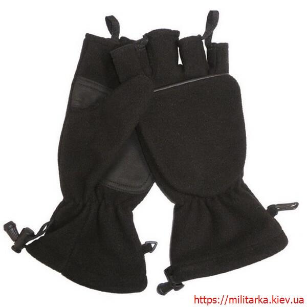 Перчатки флисовые Mil-Tec с откидной варежкой черные