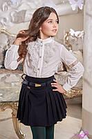 Блуза школьная нарядная на девочку Линсей Размеры 116- 140 Цвет молочный 116