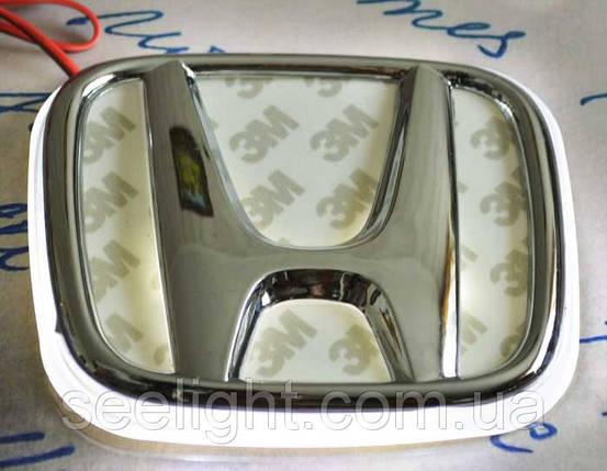 Автомобильный логотип Honda 9.8*8.0 см. с хромированной накладкой, белый, фото 2