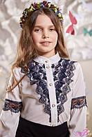 Блуза школьная нарядная на девочку Линсей Размеры 116- 140 Бело-синяя