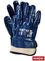 Защитные перчатки, покрытые нитрилом и законченные фиксированной манжетой RNITNP G