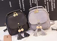 Женская сумка мини рюкзак с Кисточками