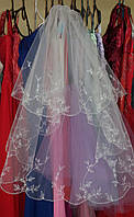 Свадебная фата с вышивкой и стразами (КВ-В-К-2-бел) белый