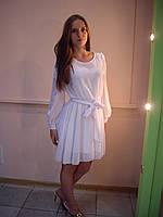 Белое платье под пояс
