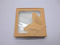 """Картонная коробка для конфет и макаронс """"Крафт с бабочками """"Эконом"""" 15*15*3 см"""""""
