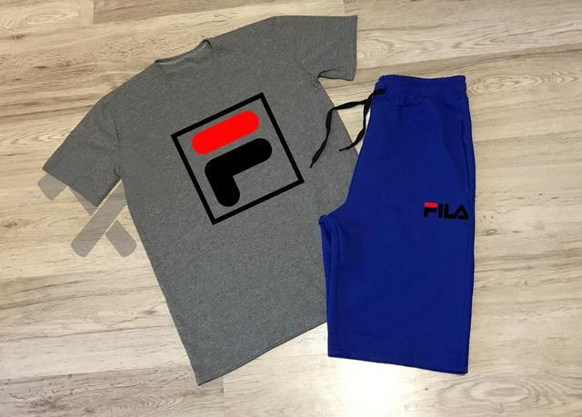 aa53821919f2 Летний мужской спортивный костюм Fila серый верх синий низ купить в ...