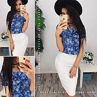 Комплект юбка-карандаш и блузка, джинс, цветы