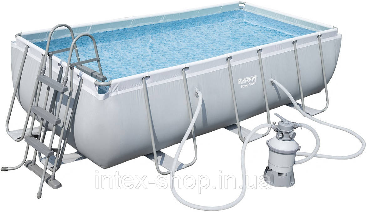 Каркасный бассейн Bestway 56442 (404 х 201 х 100 см) (2 006 л/ч, дозатор, лестница)