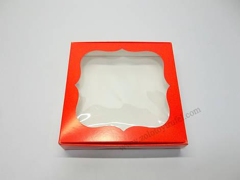 """Картонная коробка для конфет и макаронс """"Красная с фигурным окном """"Эконом"""" 15*15*3 см"""""""