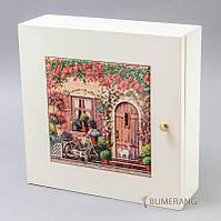 Ключница 160241 дом с цветами, велосипед, кот, белая