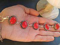 Браслет серебряный с  красным кораллом