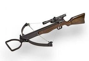 Арбалет TDR-2005N, блочный, винтовочной компоновки. Арбалет с прицелом TDR-2005N и комплектацией.