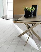 Современныйобеденный раскладной стол Cambridge(Кэмбридж), цвет мокко, столешница каленное стекло, ноги метал