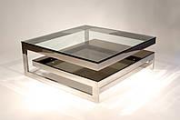 Стол стеклянный журнальный квадратный 900х900