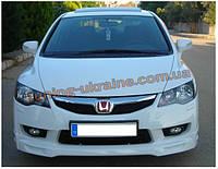 Юбка на передний бампер Mugen под покраску на Honda Civic 8 2005-2011