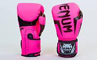 Перчатки боксерские PU на липучке VENUM розовый